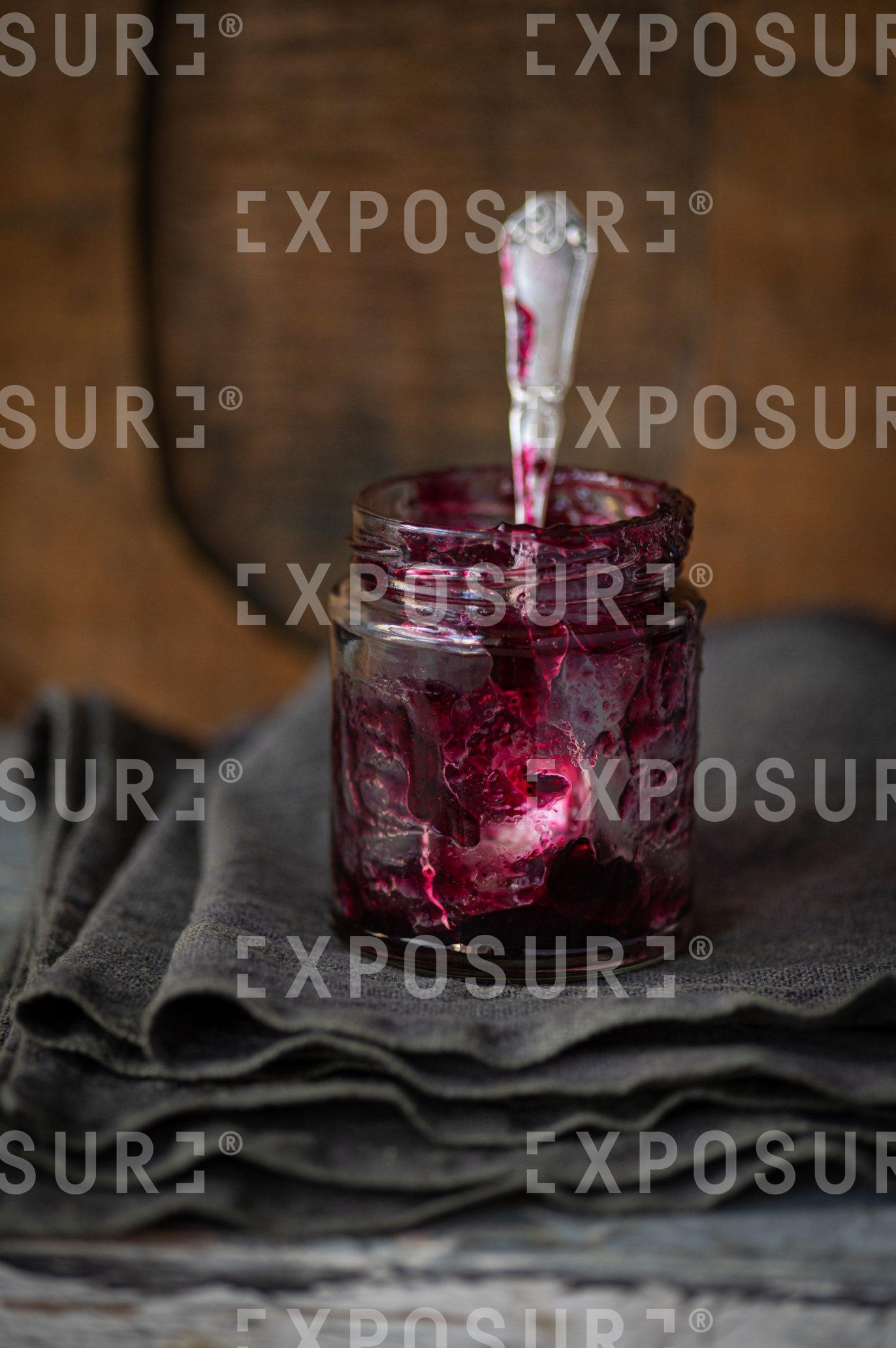 Empty jar of blueberry jam