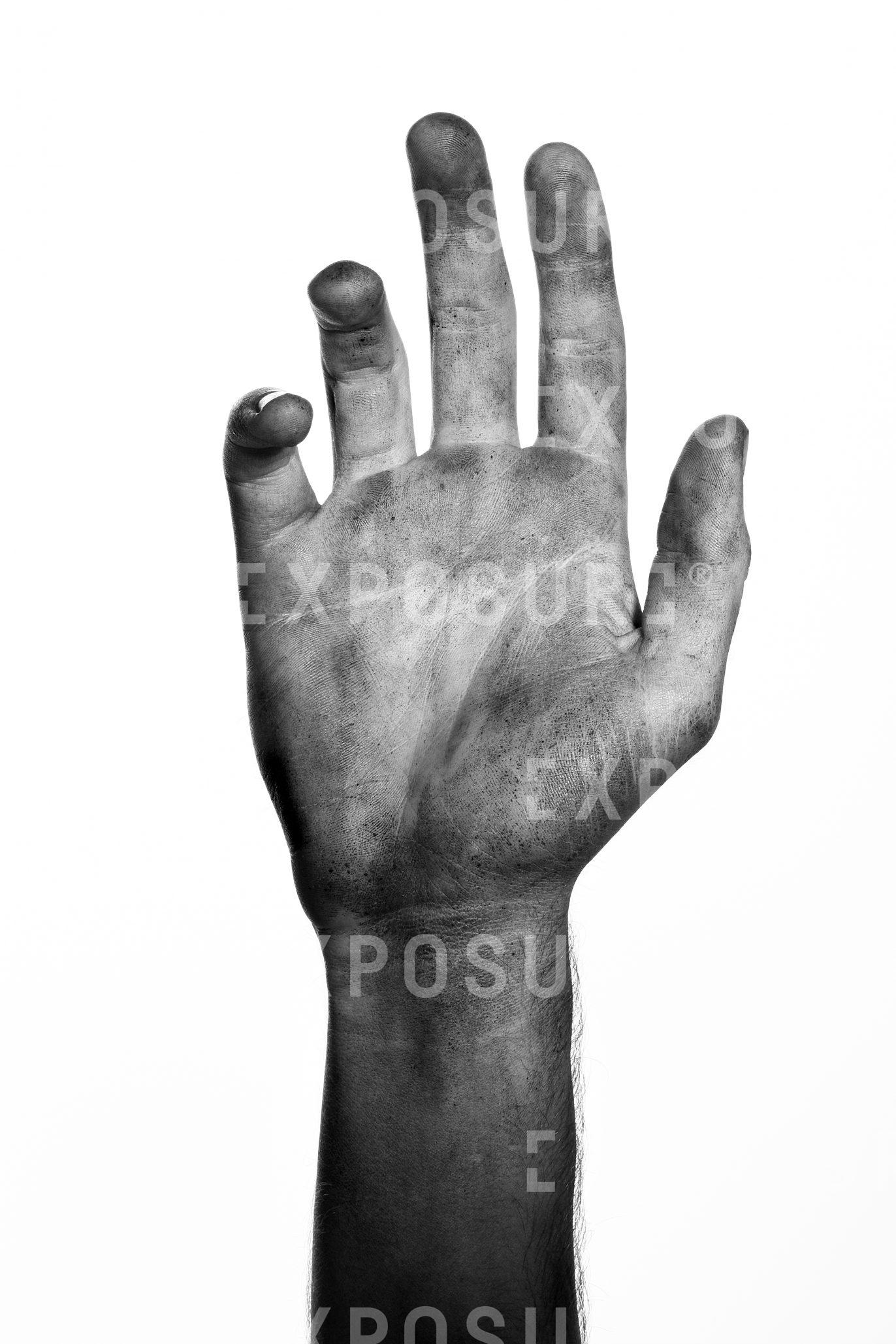 A portrait of a dirty right hand