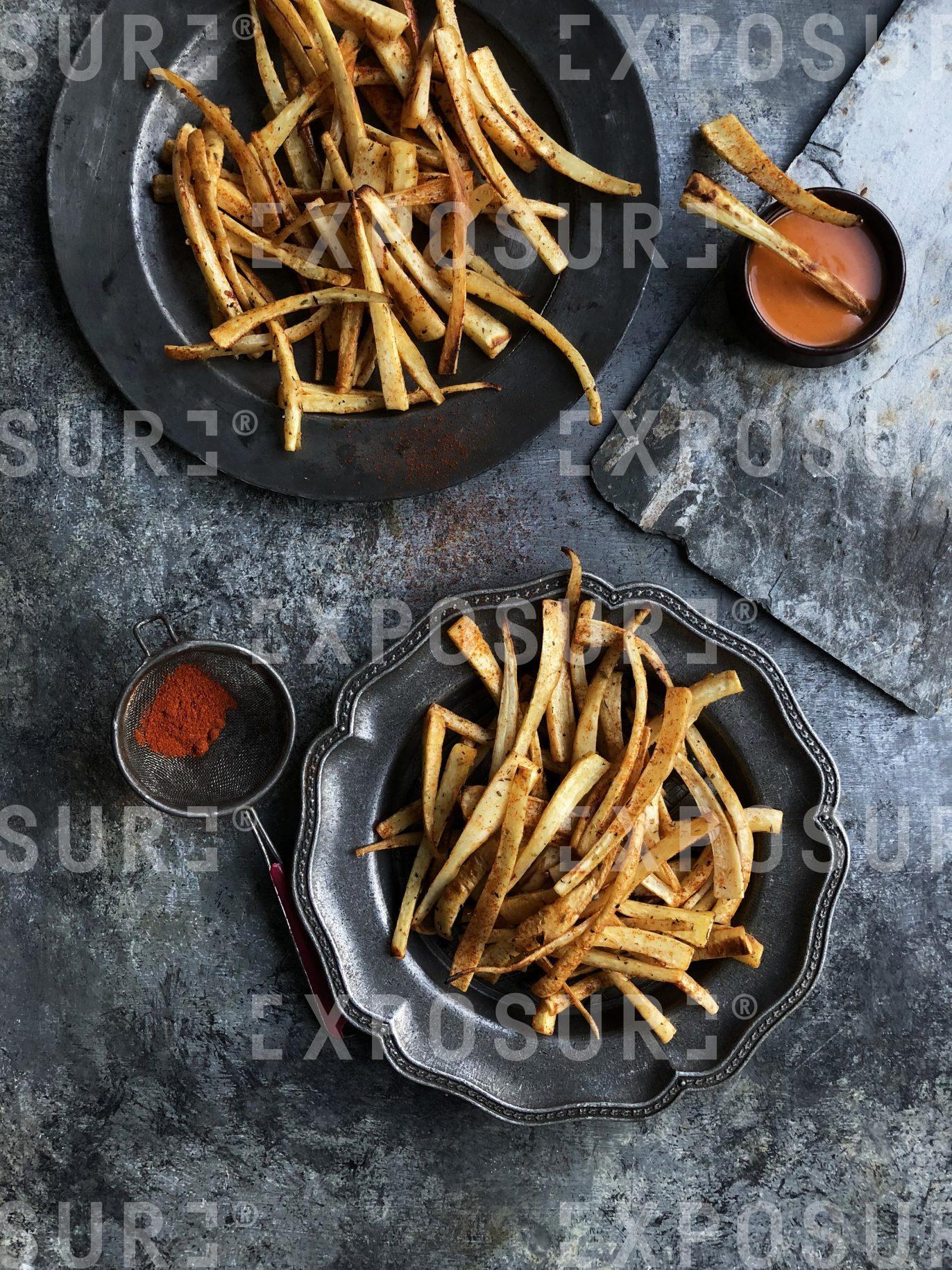 Parsnip fries with sriracha mayo