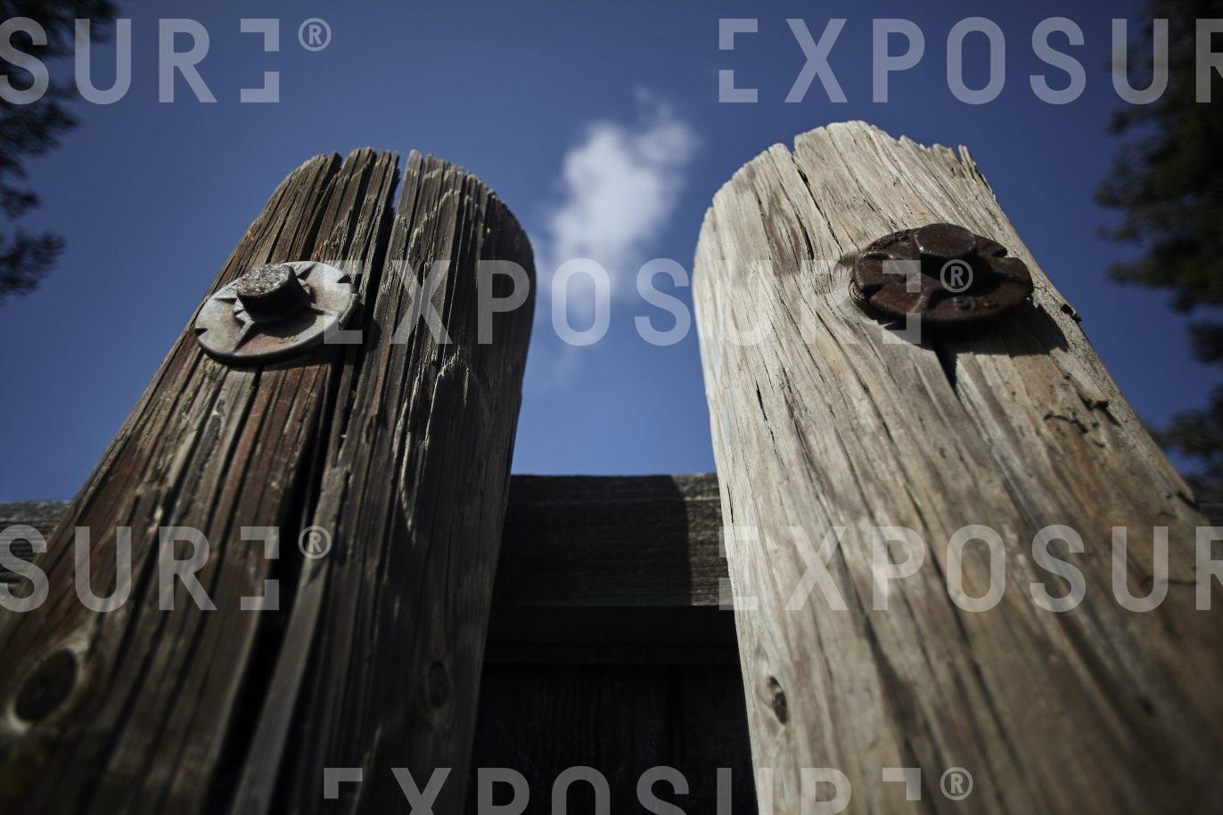 California, two old wooden pilings