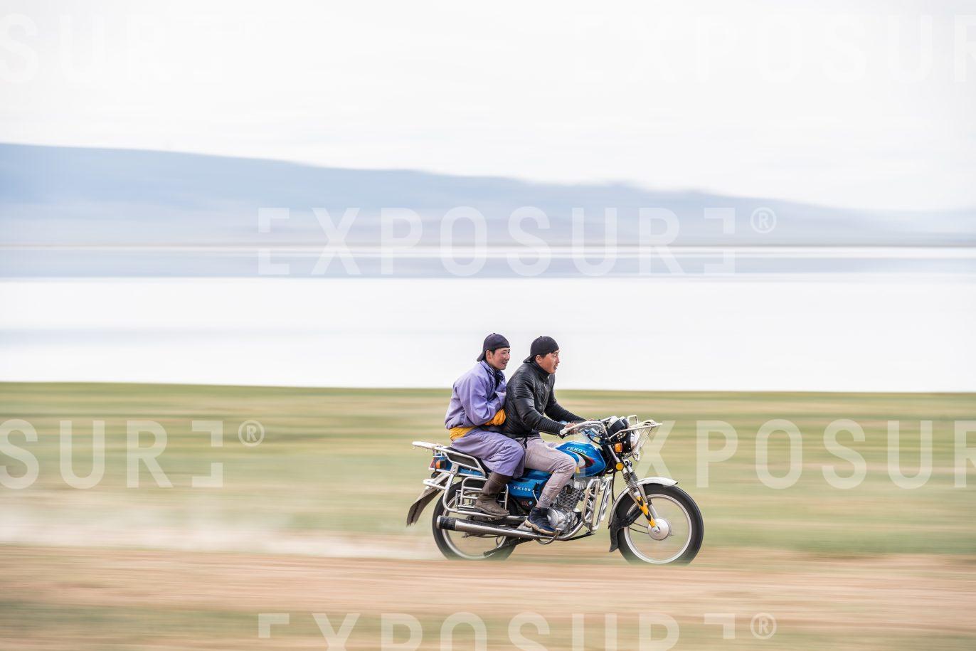 Motorcyclists near Achit Lake. Mongolia