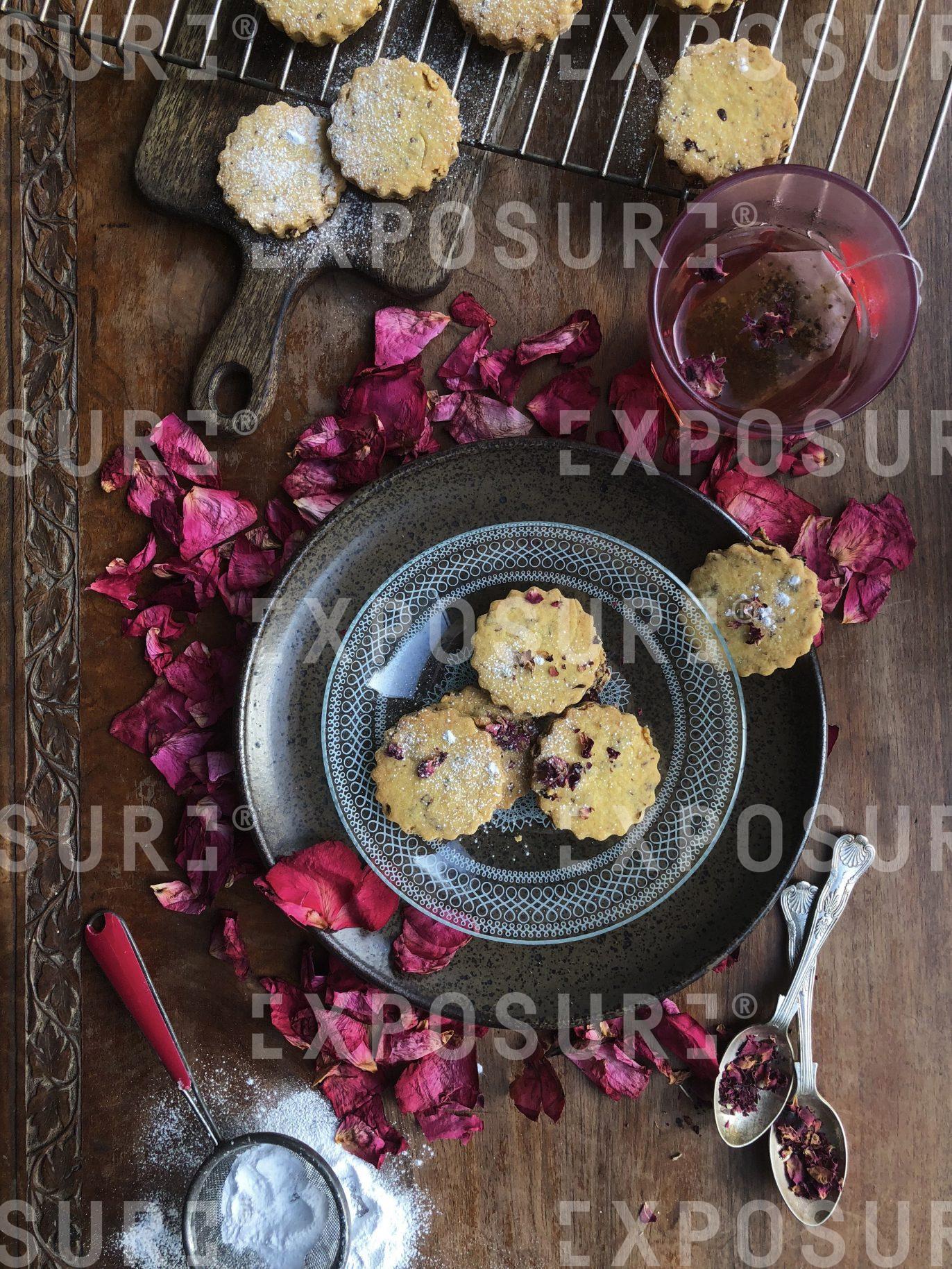 Rose petal and lemon polenta shortbread